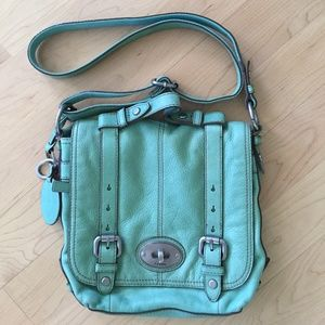 Fossil Mint Greet Leather Crossbody